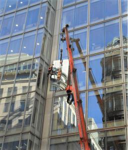 high level glass replacement via crane
