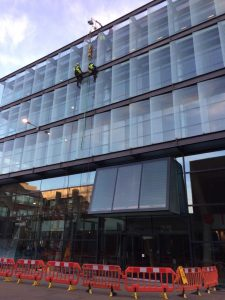 high level glass replacement with abseil team
