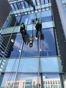 commercial glass replacement via abseil