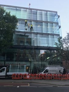high level glass replacement with abseil and floor crane. SIte set up