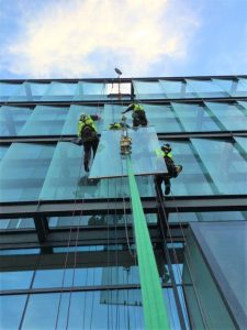 high level glass replacement with abseil and tag lines