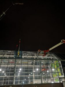 high level glass replacement using crane and mechanical access